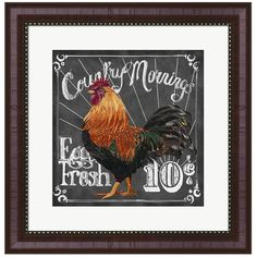 Metaverse Art Rooster on Chalkboard I Framed Wall Art ($161) ❤ liked on Polyvore featuring home, home decor, multicolor, farmhouse home decor, country style home decor, country home decor, rooster home decor and colorful home decor