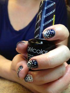 Blue and white polka dots #blue #nails #creativenails #polkadots #OPI