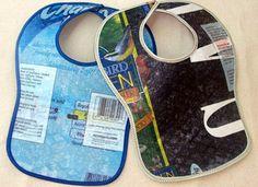 recycle plastic bags to make a bib!  http://translate.google.se/translate?sl=auto=en=n=_t=sv=UTF-8=2=1=http%3A%2F%2Fwww.365slojd.se