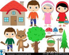 Little Red Riding Hood Set Clipart Digital Clip Art by HaHaHaArt