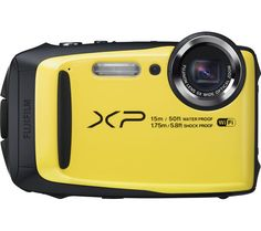 FUJIFILM  XP90 Tough Compact Camera - Black & Yellow, Black Price: £ 128.00 From a sunny beach to a snowy mountain, you can shoot almost anywhere with the Fujifilm XP90 Tough Compact Camera . Face the elements Tough enough for shooting in a wide range of conditions, the rugged XP90 is waterproof, freezeproof, shockproof and dustproof making it the perfect addition to your outdoor adventures....
