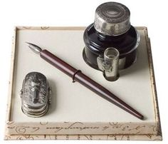 COLES - Wood Pen, Nib Case, Ink & Pen Holder (£38.99). Wooden pen with nib case and bottled ink. Includes pen holder. Made in Italy.