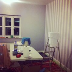 Bedroom cream and grey stripe feature wall with Dulux chic shadow walls                                                                                                                                                                                 More