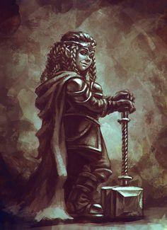 woman dwarf by AnekaShu.deviantart.com on @deviantART  como ja havia dito...mulheres anãs não tem barba!