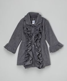 Another great find on #zulily! Charcoal Double-Ruffle Coat - Infant, Toddler & Girls by Mack & Co #zulilyfinds
