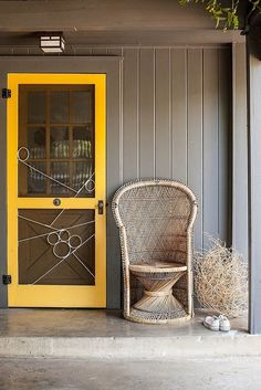Paint exterior doors in a bright contrasting hue for an unexpected pop of color