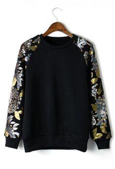 Sequins Floral Leaf Sleeves Epic Top Sweater