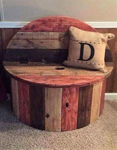 The best DIY projects & DIY ideas and tutorials: sewing, paper craft, DIY. DIY Furniture Plans & Tutorials : Marvelous Diy Recycled Wooden Spool Furniture Ideas For Your Home No 68 -Read Diy Pallet Furniture, Furniture Plans, Home Furniture, Furniture Design, Wooden Furniture, Upcycled Furniture, Unique Furniture, Furniture Stores, Victorian Furniture