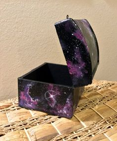 Galaxy box hand painted chest outerspace original by TrueAcrylics