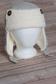 0769717151c Extra Cozy Trapper Hat  Free Crochet Pattern in 2 sizes Crochet Adult Hat