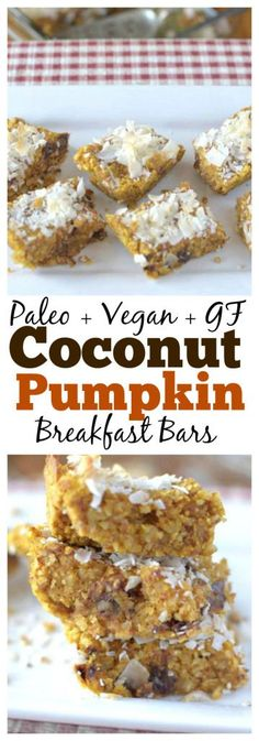 Paleo Coconut Pumpkin Breakfast Bars Need a healthy grab n' go breakfast? Make these delicious Paleo Coconut Pumpkin Breakfast Bars for the perfect way to satisfy your early morning appetite! Pumpkin Breakfast, Grab And Go Breakfast, Free Breakfast, Perfect Breakfast, Yummy Food, Tasty, Paleo Dessert, Vegan Desserts, Paleo Recipes