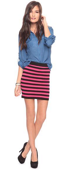 denium shirt, mini skirt.