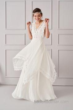 2018 Abiye Elbiseler Beyaz Uzun V Yakalı Dantelli