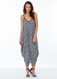 It's In The Baggy Tribal Jumpsuit BLACK