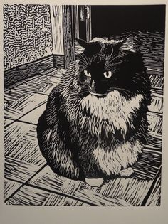 "Marjorie Lair:  This is a linocut of my cat, it is entitled ""Alvin"""