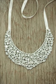 Bridal Statement Necklace, Wedding Jewelry, bridal Accessories Wedding necklace, Bridal rhinestone necklace, bib necklace, choker. $220.00, via Etsy.
