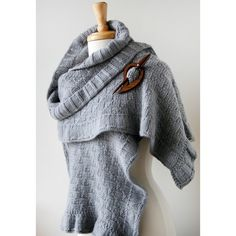 Rococo Merino Wool Hand Knit Shawl in Soft Grey from Elena Rosenberg Wearable Fiber Art