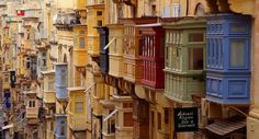 Colourful balconies in Valletta, Malta.