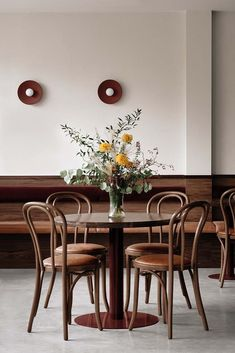Arch Interior, Interior And Exterior, Interior Design, Dining Chairs, Dining Table, Dining Rooms, Walnut Chair, Communal Table, Pub Design