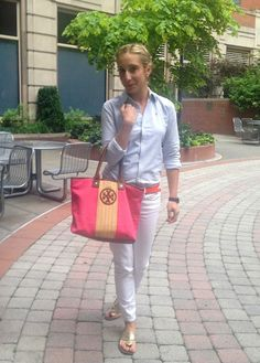 chambray top + white jeans, bright accessories. w/ wedges, sandals.