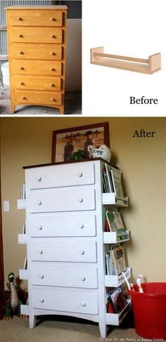 refurbished furniture DIY Kids Bookshelves Made with Old Drawers and Ikea Spice Racks: Turn the old drawers like this one into a creative and stylish bookshelves for your kids with some white spraypaint and the IKEA spice racks.