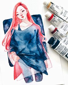 sketched this after rewatching Hormones it's just red hair stuck in my eyes Watercolor Artists, Watercolor Drawing, Cool Art Drawings, Art Drawings Sketches, Character Inspiration, Character Design, Drawing Competition, Guache, Painting Of Girl