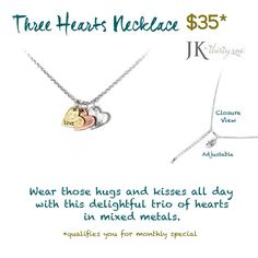 Three Hearts Necklace JK by Thirty-one Gifts