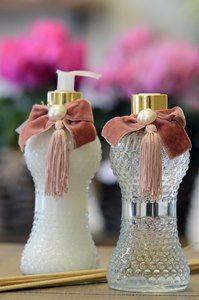 Kit difusor de aromas e sabonete líquido em vidro decorativo bico de jaca. Um luxo!