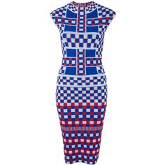 Alexander McQueen Blue Geometric Print Jacquard Pencil Dress (46.893.705 VND) ❤ liked on Polyvore featuring dresses, blue checkered dress, blue print dress, jacquard dress, crew neck dress and graphic print dress