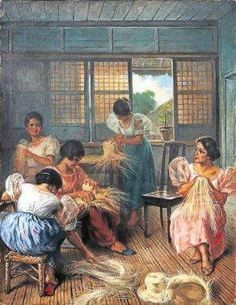 A very RARE Fabian de la Rosa painting of a Filipina buri hat weaving circle. Up for auction at Leon Gallery. Starting bid is 12 million pesos. The provenance states the painting was bought by a Hollywood actor in the 40s.