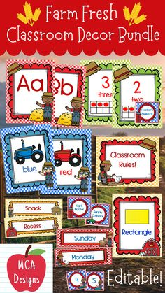 Check out my Farm Fresh Editable Classroom Décor bundle features all you need to have a fresh new look for your classroom this fall! Check out the preview for a quick look at this colorful theme. My Farm Fresh Classroom Décor Editable Bundle features my ENTIRE Farm Fresh collection including several editable features! #teacherspayteachers #tpt #backtoschool #classroommanagement Classroom Décor, 2nd Grade Classroom, School Resources, Teacher Resources, Teaching Ideas, Classroom Resources, Kindergarten Learning, Preschool, Kindergarten Themes