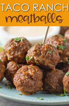 Ranch Meatballs These Taco Ranch Meatballs with a zesty taco ranch dipping sauce are packed full of flavor and so EASY to prepare!These Taco Ranch Meatballs with a zesty taco ranch dipping sauce are packed full of flavor and so EASY to prepare! Meatball Recipes, Meat Recipes, Gourmet Recipes, Appetizer Recipes, Mexican Food Recipes, Cooking Recipes, Meat Appetizers, Meatball Sauce, Mexican Appetizers