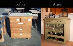 This was a pretty easy project we knocked out. An old dresser we found at our local Habitat for Humanity Restore for $10, some trips to Home Depot, and viola! Our new wine cabinet!