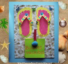 Pense bête d'été décoration tongs et empeintes de pied.