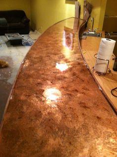 Photo Copper Bar Top  · Basement BarsBasement IdeasDiy ...