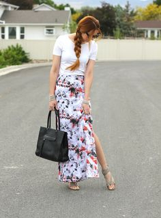 ...printed maxi skirt with slit...