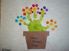 Handprint Flower Pot Card Look for mothers day or a hand made birthday present !!!!