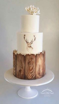 Love this cake! I would take the stag print off and add moss to the top of the second tier.