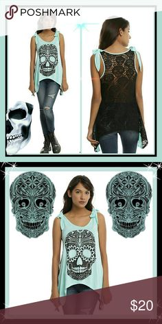 GLITTER SUGAR SKULL MINT SHARKBITE GIRLS TANK TOP Nothing will look as sweet as you in this tank top, sugar! Mint tank top with a black glitter sugar skull graphic on front, sheer black crocheted skull back panel, shoulder ties and sharkbite hem.   95% rayon; 5% spandex Hand wash cold; line dry Hot Topic Tops