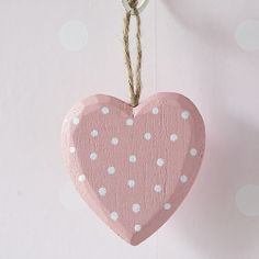 pink polka dot heart ornament