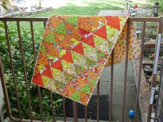 Colorful summer triangles table runner.