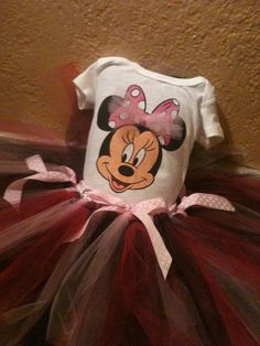 Minnie Mouse Baby Tutu and Onsie combo by pocketfulofposiesbou, $30.00