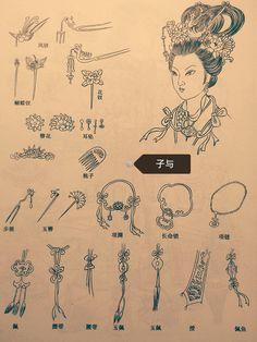 首饰品是古代妇女重要的装饰,特别在仕女画的造型上运用更多,古代首饰经概括起来,发饰有簪,钗,珠花,步摇等。项式有项圈,长命锁,项链等。而是有耳琪,耳环,耳坠。首饰有手镯,玉镯,指环等。佩件一般可概括为佩与带,多作为礼节约束品德的装束,也常用于区分贵贱等级。佩玉以示德表洁。腰带一般以彩绳为主,长带曳地,视为尔雅。绶常成为名流仕女所佩之。