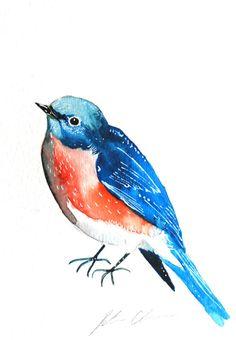 Watercolor Painting Original Bluebird Bird Painting by WoodPigeon, $25.00