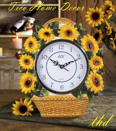 Amazon.com: Sunflower Clock   Hand Painted Flower Clock By Ibis U0026 Orchid  Designs: Home U0026 Kitchen $12.99 | Sunflowers For The Wall | Pinterest |  Home, Clock ...