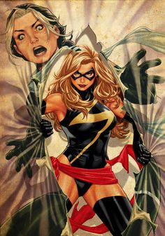 #AvX Ms. Marvel and Rogue ~ art by Mark Brooks
