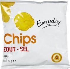 EVERYDAY chips salée 36x50gr  Référence: CHP1017 EVERYDAY sont des chips plates au sel. Les pommes chips sont généralement servis à l'apéritif, plat ou une collation. 36 paquets de 50gr. chips pomme de terre belge sur www.chockies.net