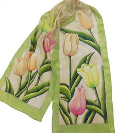 Hand Painted Tulips Silk Scarf Mothers Day or by KathyMurphyChilds