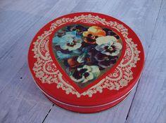 Vintage Valentine's Day Tin Heart Round Container Red by fooshfarm