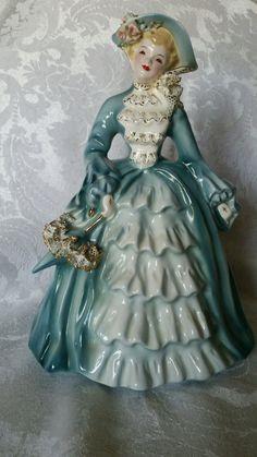 "Vintage Florence Ceramics Figurine ""Charmaine"" in Blue."